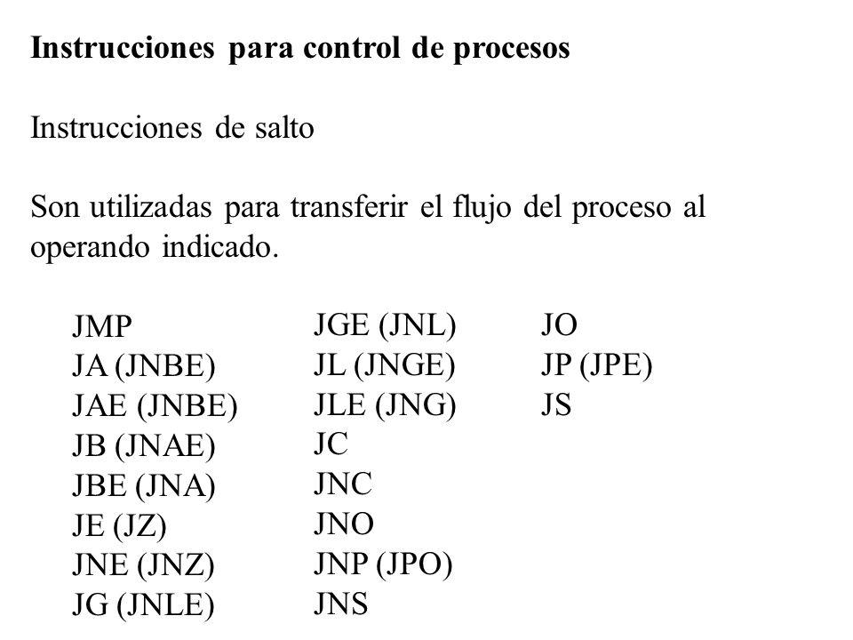 Instrucciones para control de procesos