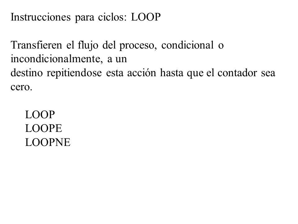 Instrucciones para ciclos: LOOP
