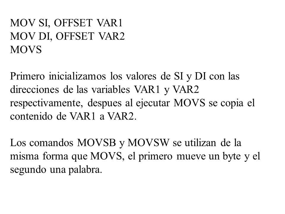 MOV SI, OFFSET VAR1 MOV DI, OFFSET VAR2. MOVS.