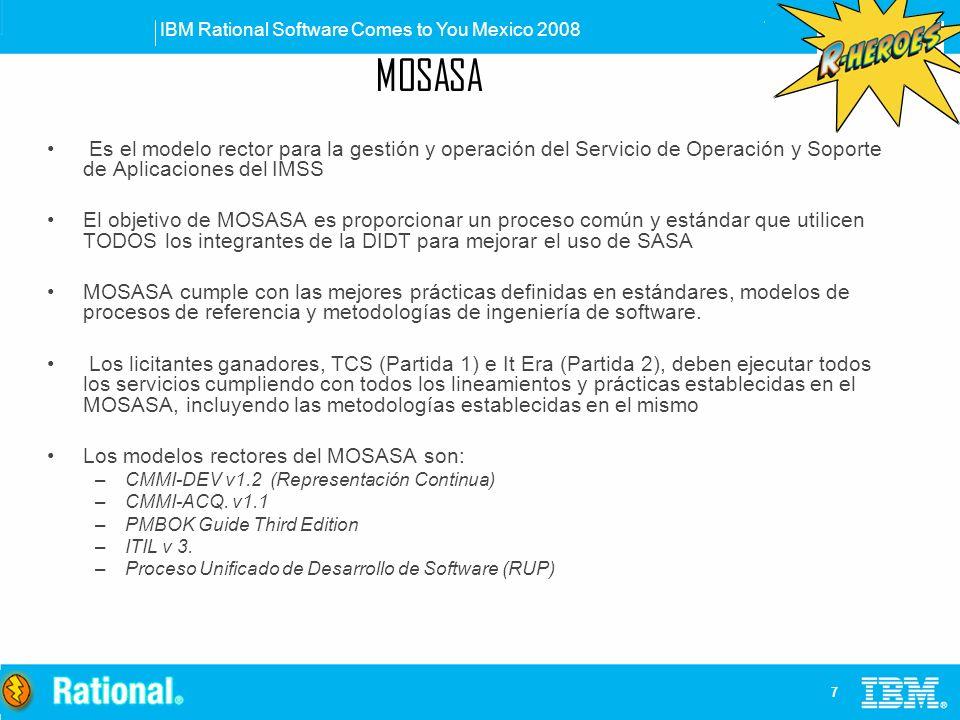 MOSASA Es el modelo rector para la gestión y operación del Servicio de Operación y Soporte de Aplicaciones del IMSS.