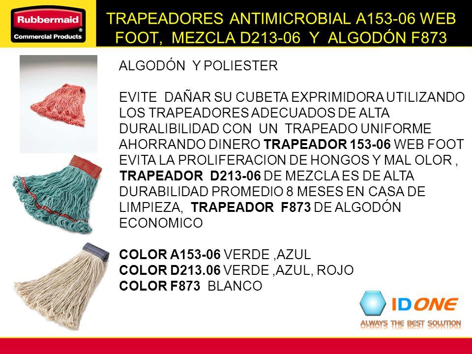 TRAPEADORES ANTIMICROBIAL A153-06 WEB FOOT, MEZCLA D213-06 Y ALGODÓN F873