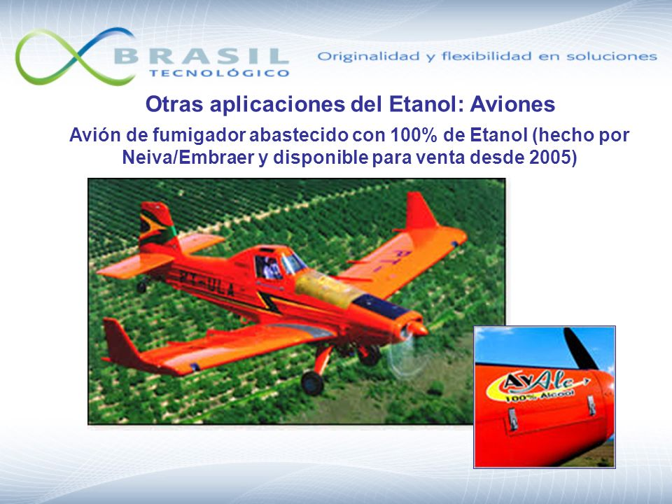 Otras aplicaciones del Etanol: Aviones