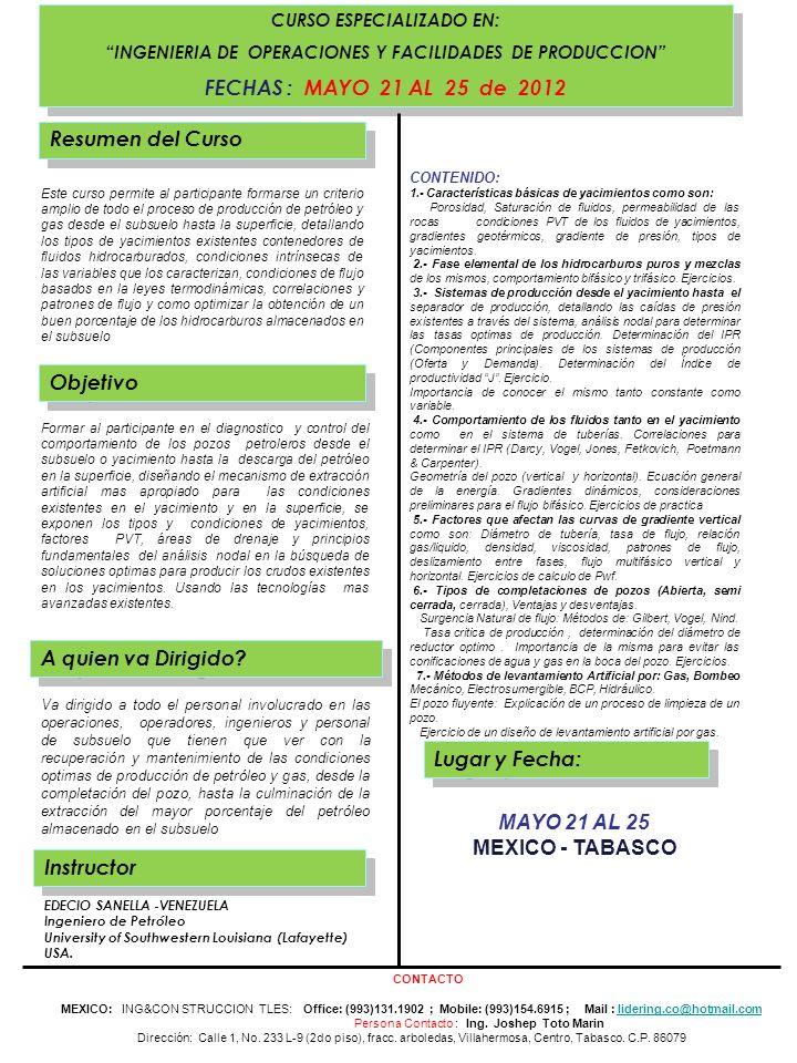 FECHAS : MAYO 21 AL 25 de 2012 Resumen del Curso Objetivo