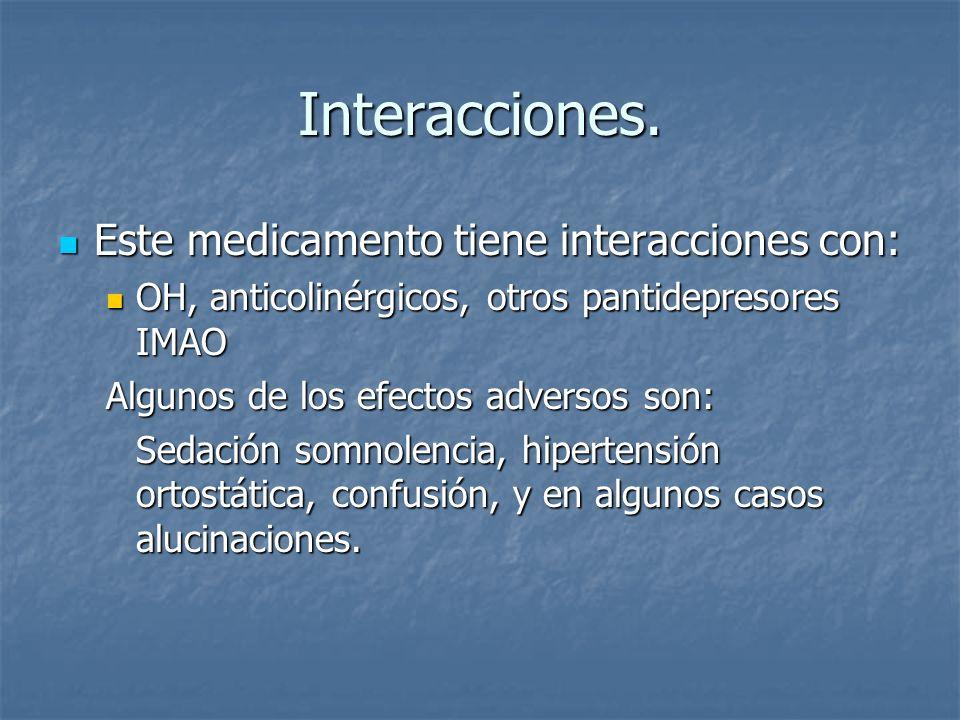 Interacciones. Este medicamento tiene interacciones con: