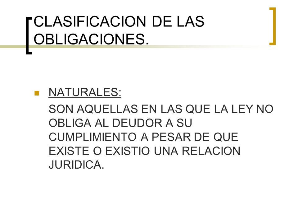 CLASIFICACION DE LAS OBLIGACIONES.