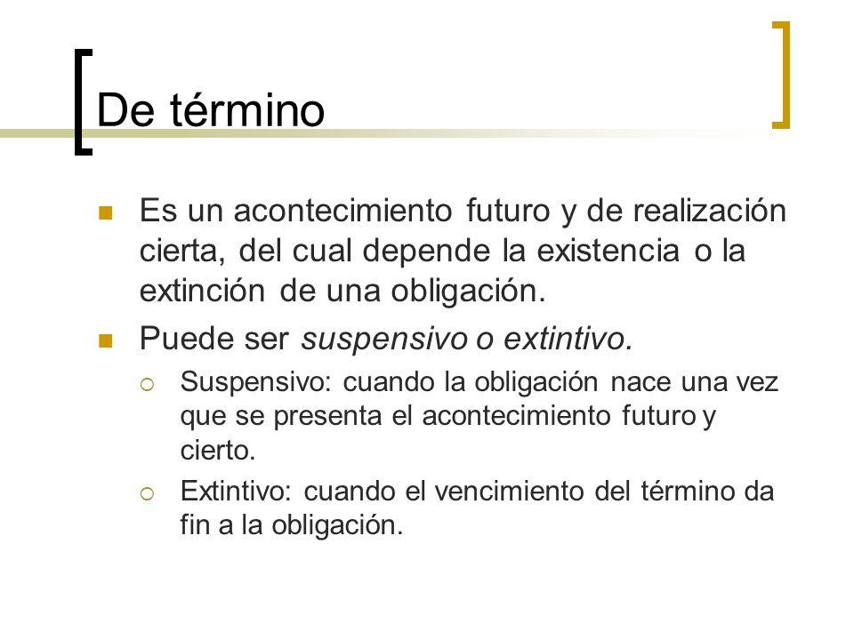 De término Es un acontecimiento futuro y de realización cierta, del cual depende la existencia o la extinción de una obligación.
