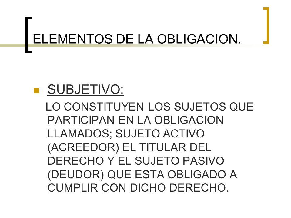 ELEMENTOS DE LA OBLIGACION.