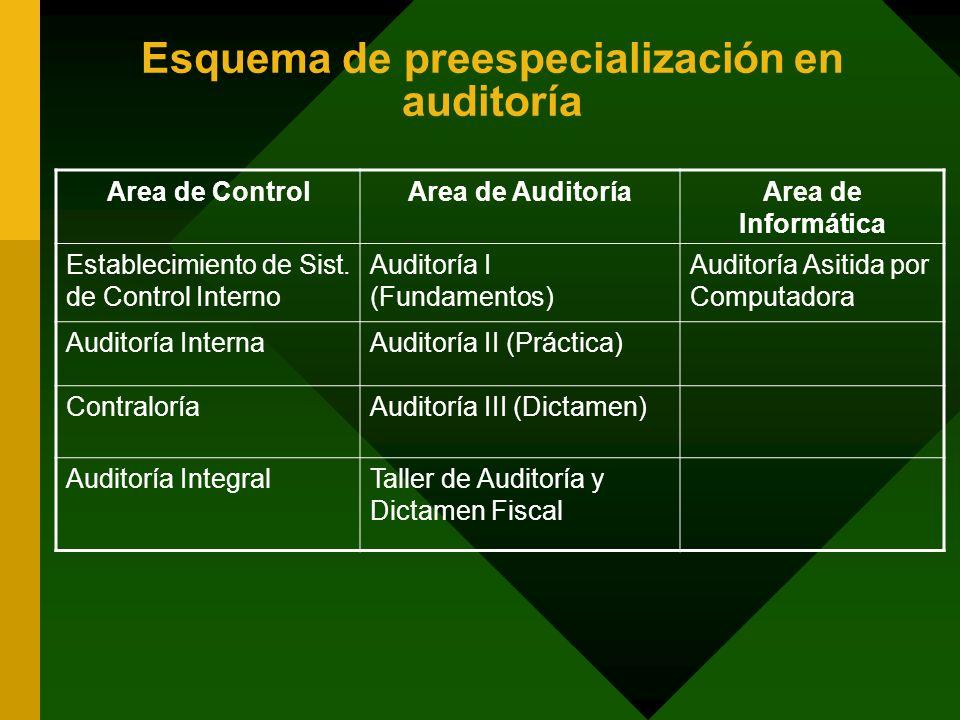 Esquema de preespecialización en auditoría
