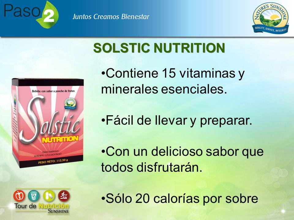 SOLSTIC NUTRITION Contiene 15 vitaminas y minerales esenciales. Fácil de llevar y preparar. Con un delicioso sabor que todos disfrutarán.