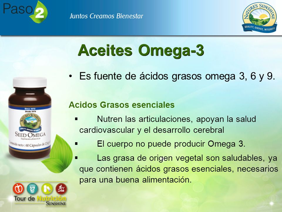 Aceites Omega-3 Es fuente de ácidos grasos omega 3, 6 y 9.
