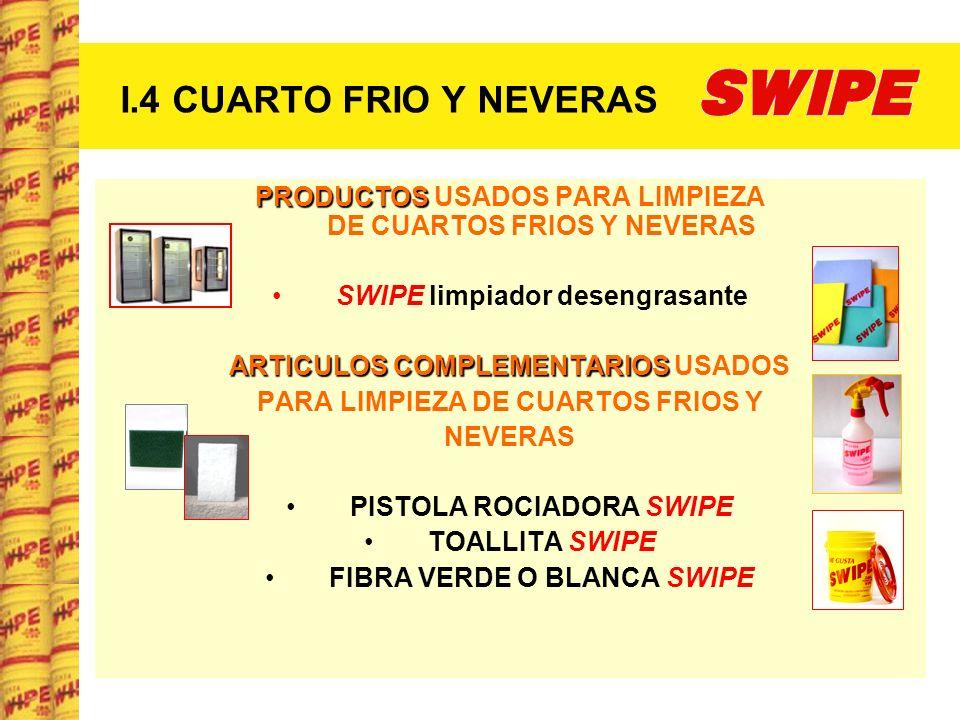 I.4 CUARTO FRIO Y NEVERAS PRODUCTOS USADOS PARA LIMPIEZA DE CUARTOS FRIOS Y NEVERAS.