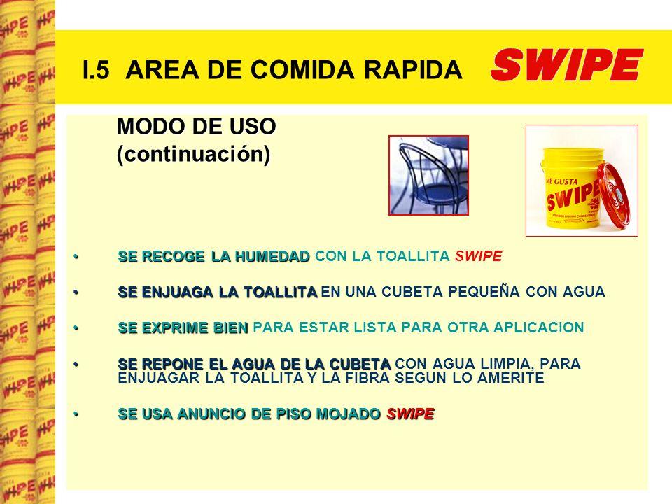 I.5 AREA DE COMIDA RAPIDA MODO DE USO (continuación)