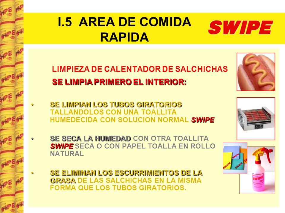 I.5 AREA DE COMIDA RAPIDA LIMPIEZA DE CALENTADOR DE SALCHICHAS