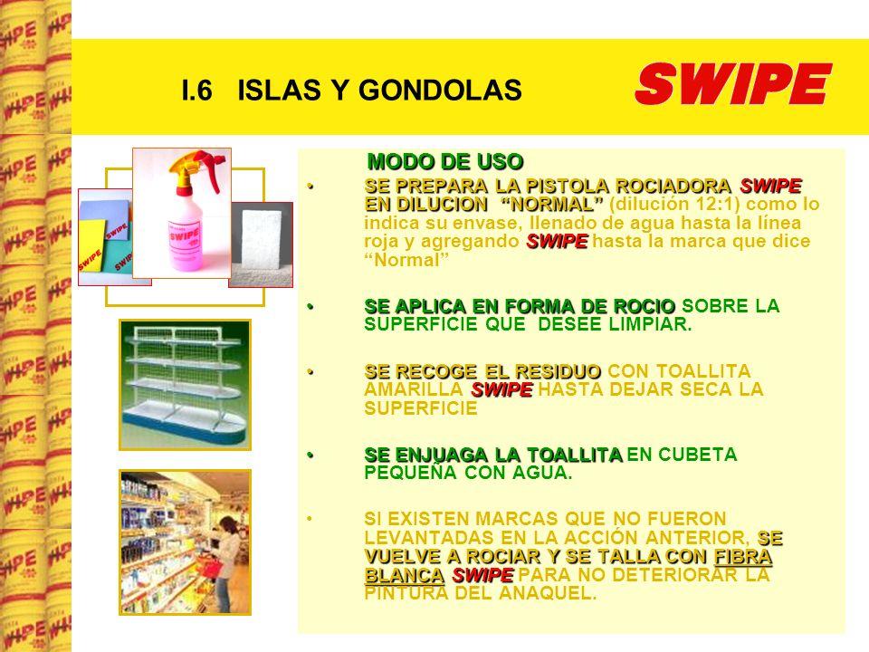 I.6 ISLAS Y GONDOLAS MODO DE USO