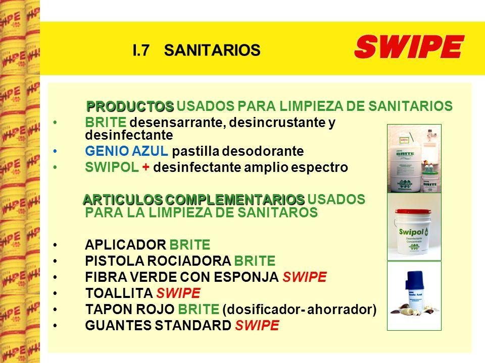I.7 SANITARIOS PRODUCTOS USADOS PARA LIMPIEZA DE SANITARIOS