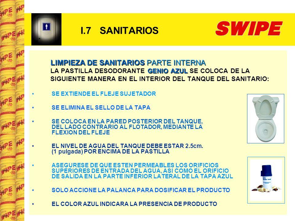 I.7 SANITARIOS LIMPIEZA DE SANITARIOS PARTE INTERNA