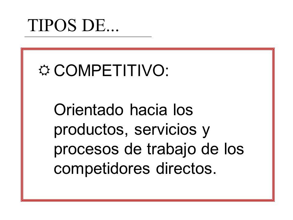 TIPOS DE...COMPETITIVO: Orientado hacia los productos, servicios y procesos de trabajo de los competidores directos.