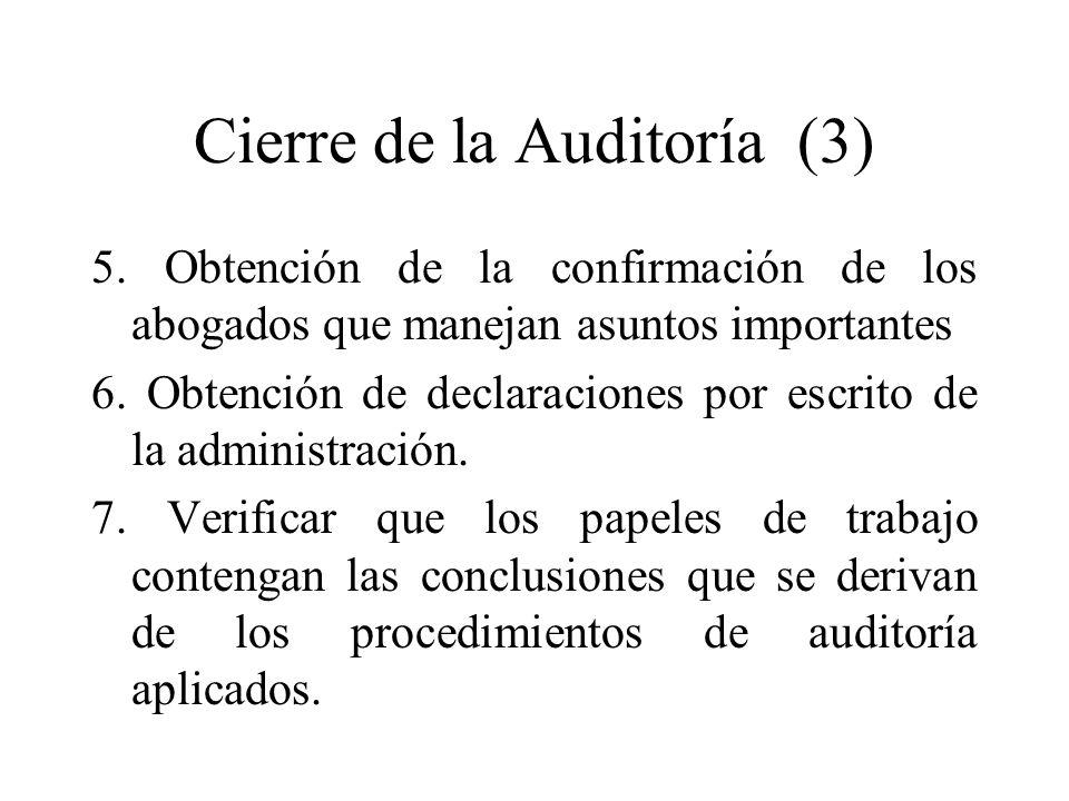 Cierre de la Auditoría (3)