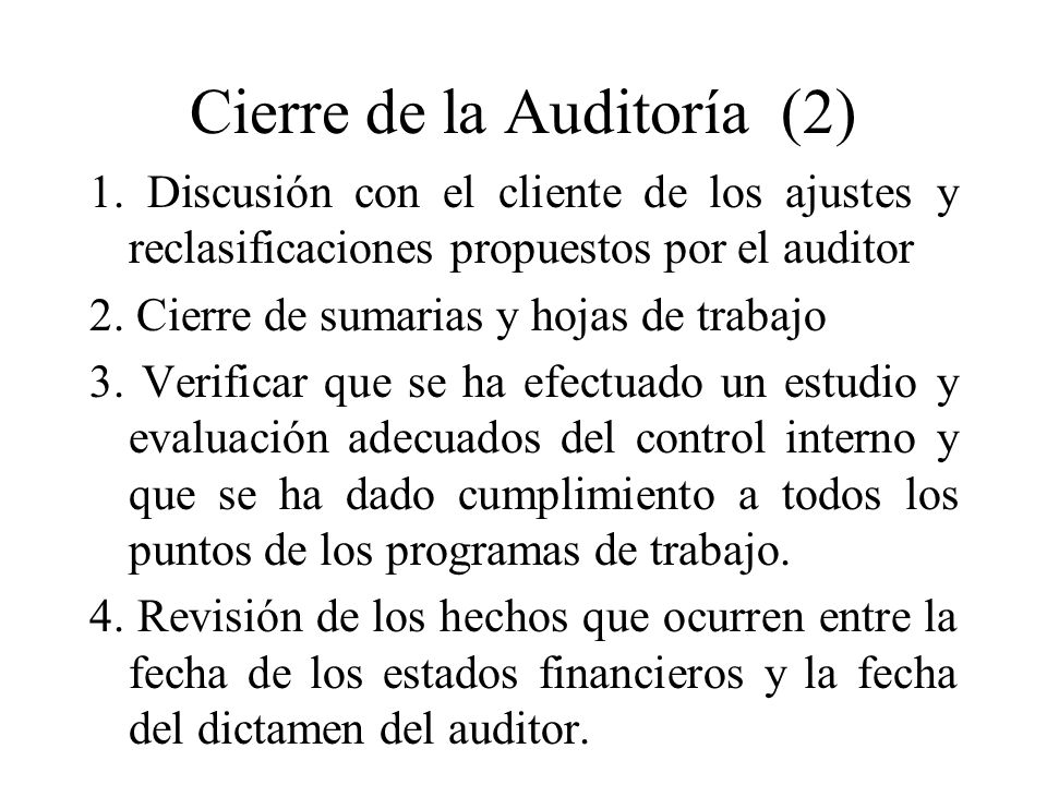 Cierre de la Auditoría (2)