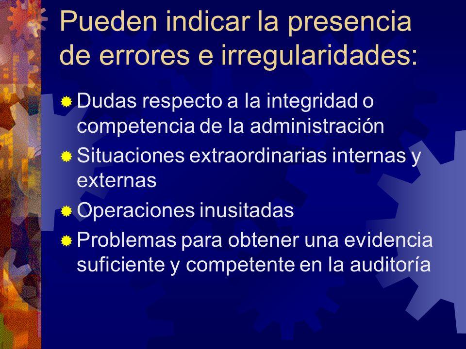 Pueden indicar la presencia de errores e irregularidades: