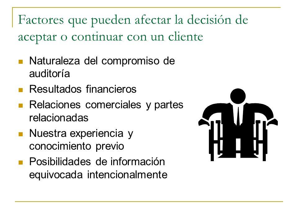 Factores que pueden afectar la decisión de aceptar o continuar con un cliente