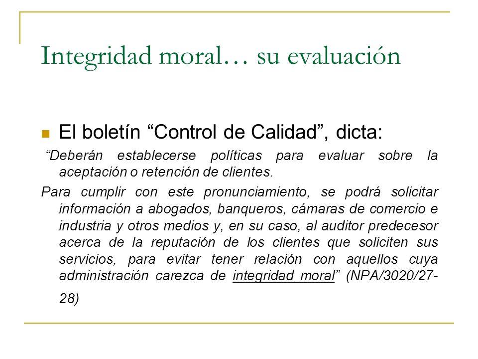 Integridad moral… su evaluación