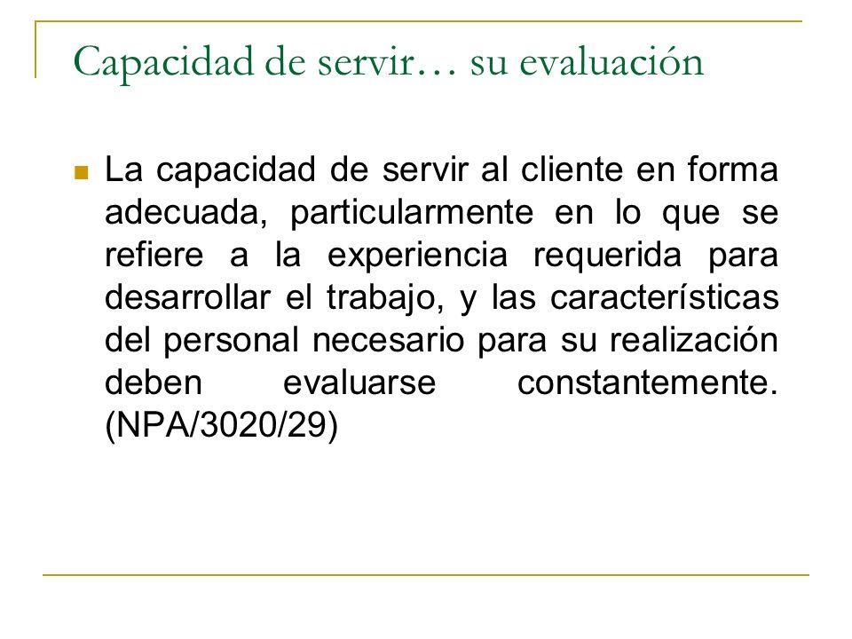 Capacidad de servir… su evaluación