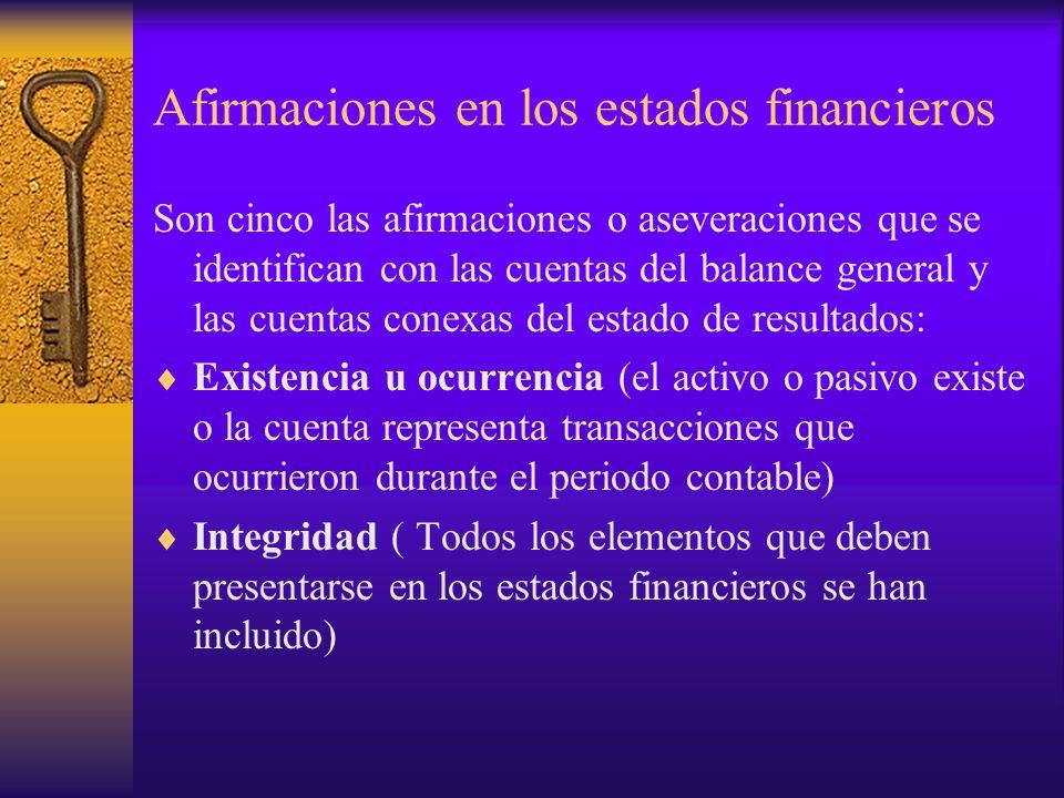 Afirmaciones en los estados financieros