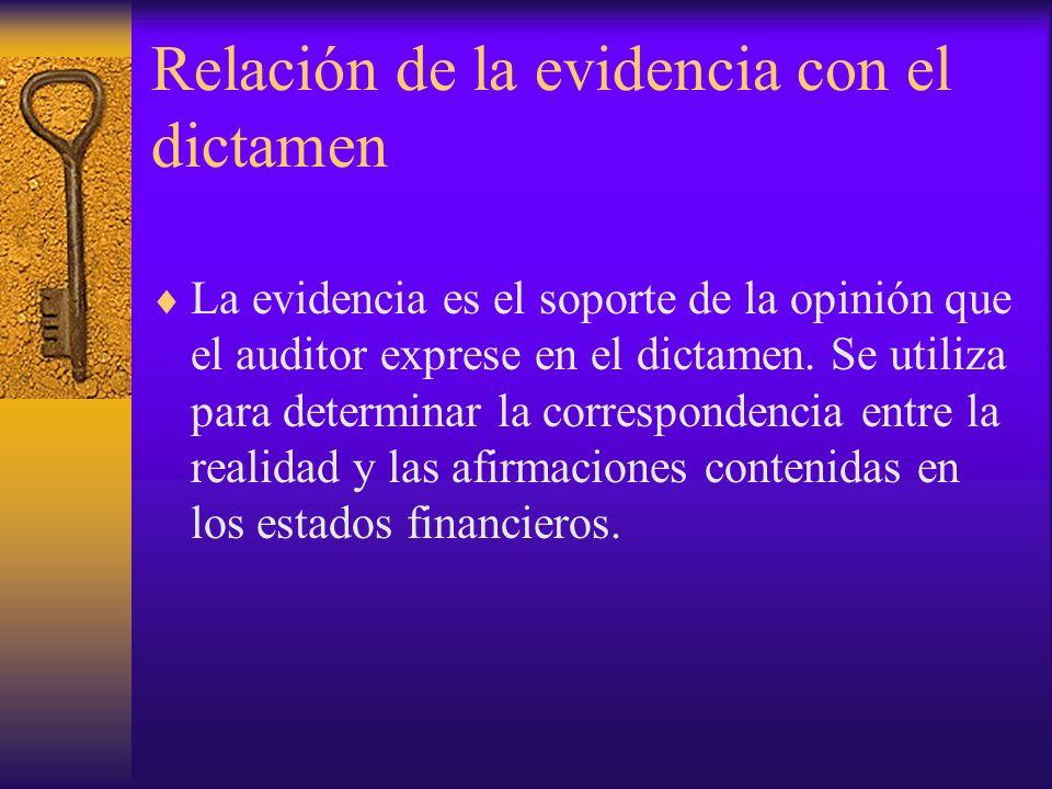 Relación de la evidencia con el dictamen