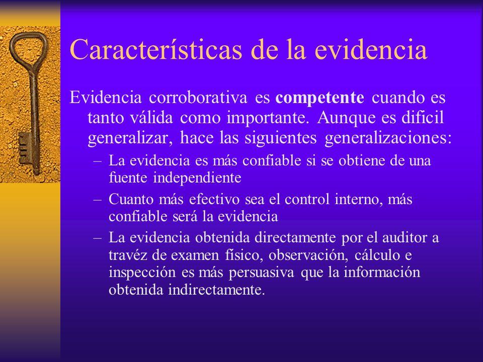 Características de la evidencia