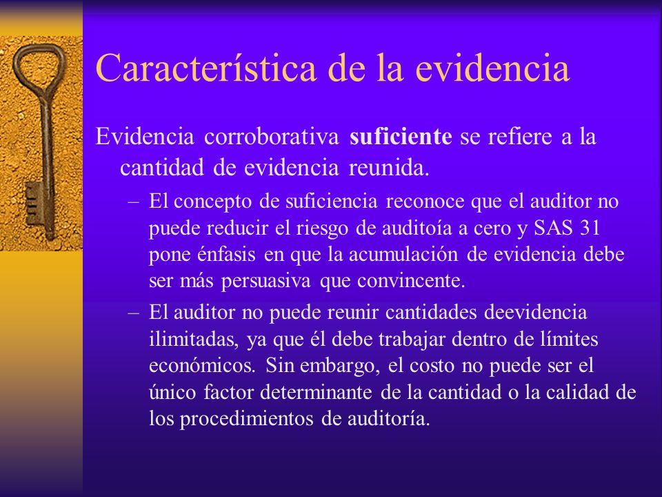 Característica de la evidencia