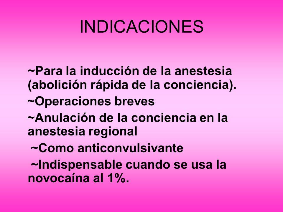 INDICACIONES~Para la inducción de la anestesia (abolición rápida de la conciencia). ~Operaciones breves.