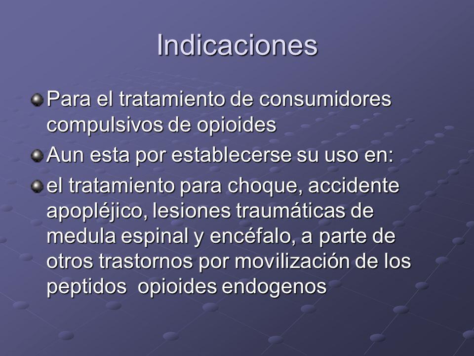 Indicaciones Para el tratamiento de consumidores compulsivos de opioides. Aun esta por establecerse su uso en: