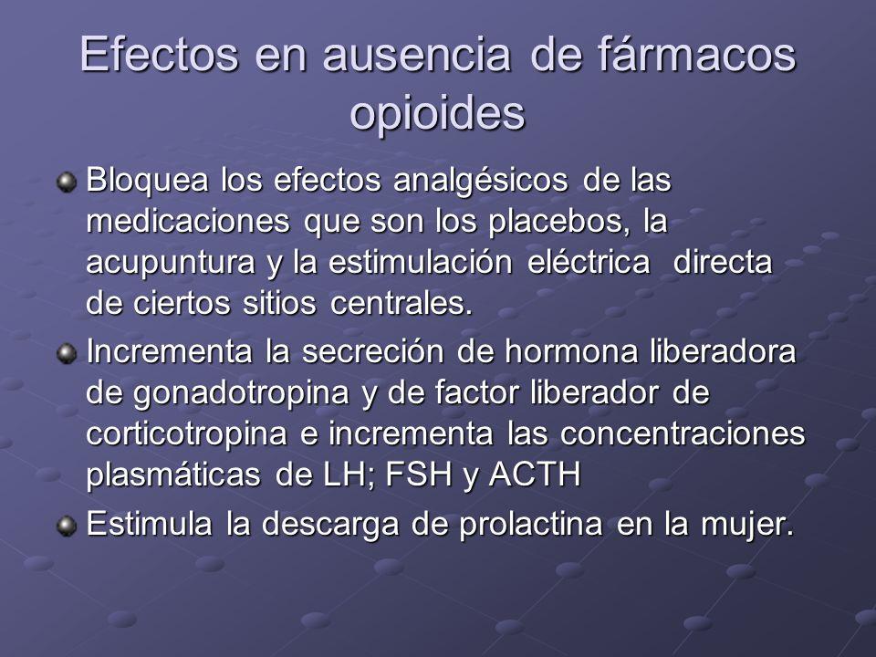 Efectos en ausencia de fármacos opioides