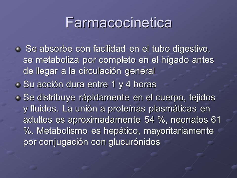 FarmacocineticaSe absorbe con facilidad en el tubo digestivo, se metaboliza por completo en el hígado antes de llegar a la circulación general.