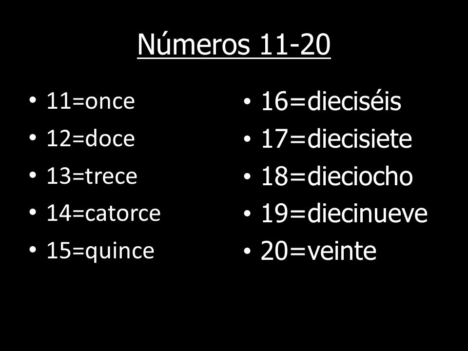 Números =once 12=doce 13=trece 14=catorce 15=quince