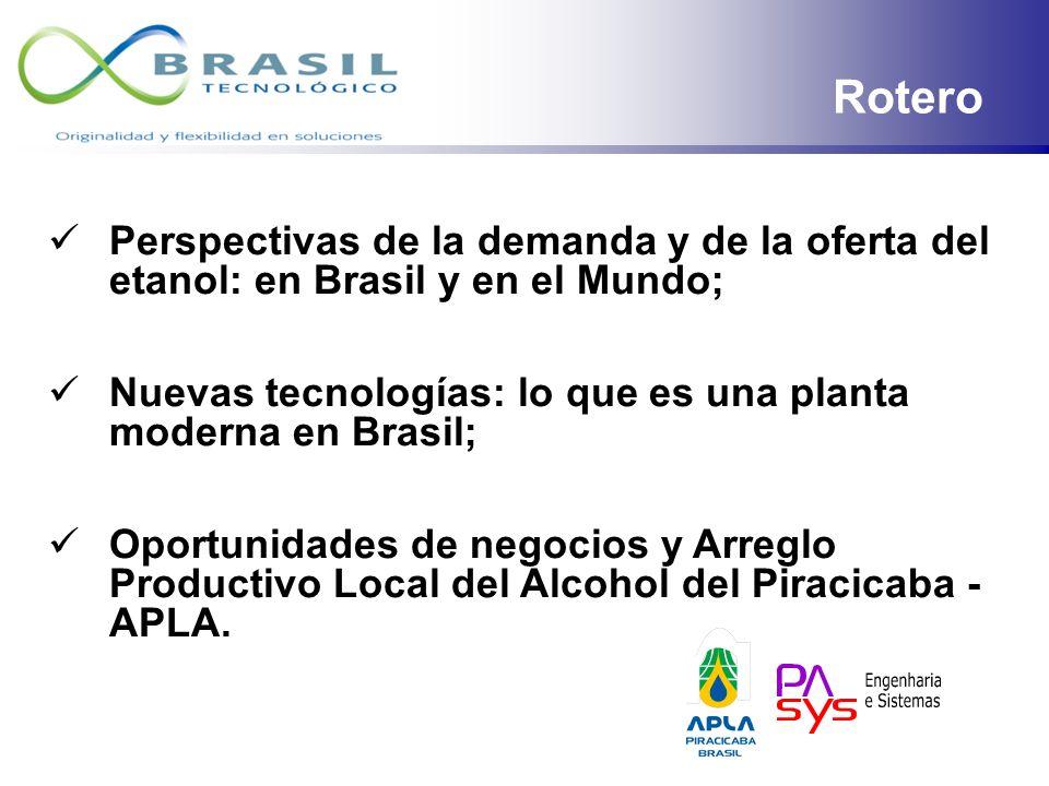 ROTEIRO Rotero. Perspectivas de la demanda y de la oferta del etanol: en Brasil y en el Mundo;