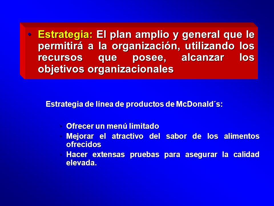 Estrategia: El plan amplio y general que le permitirá a la organización, utilizando los recursos que posee, alcanzar los objetivos organizacionales