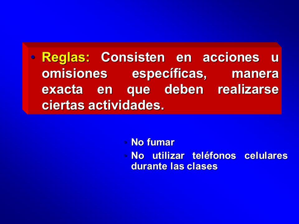 Reglas: Consisten en acciones u omisiones específicas, manera exacta en que deben realizarse ciertas actividades.