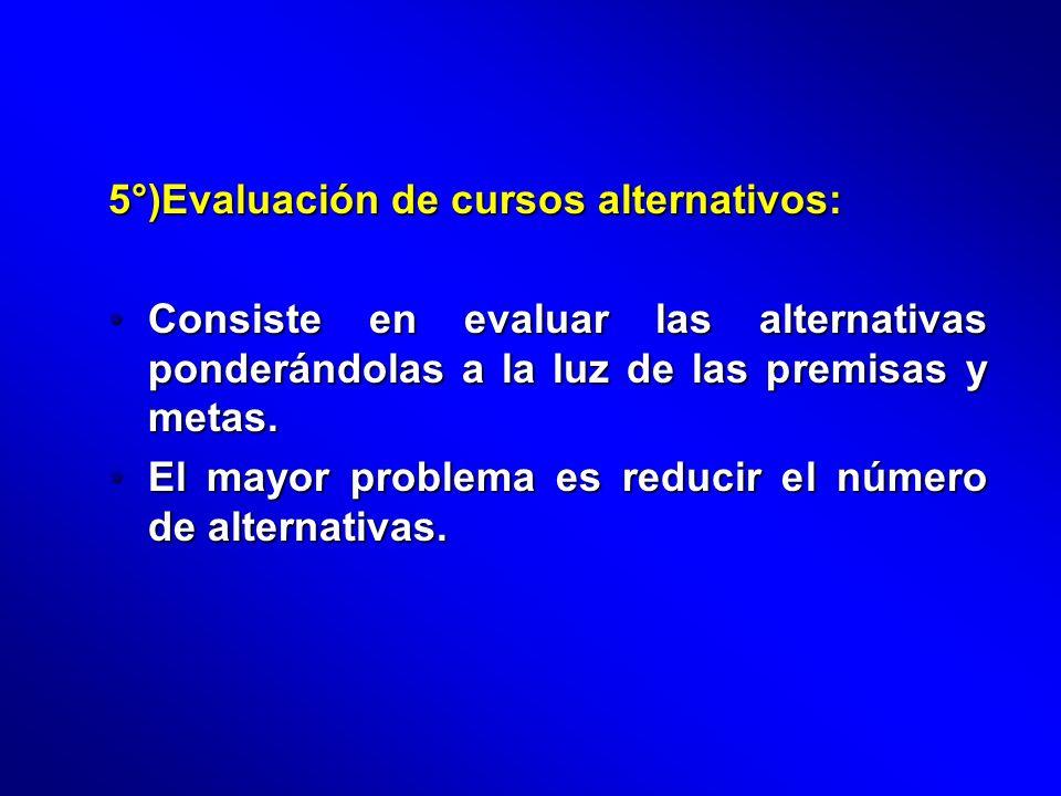 5°)Evaluación de cursos alternativos: