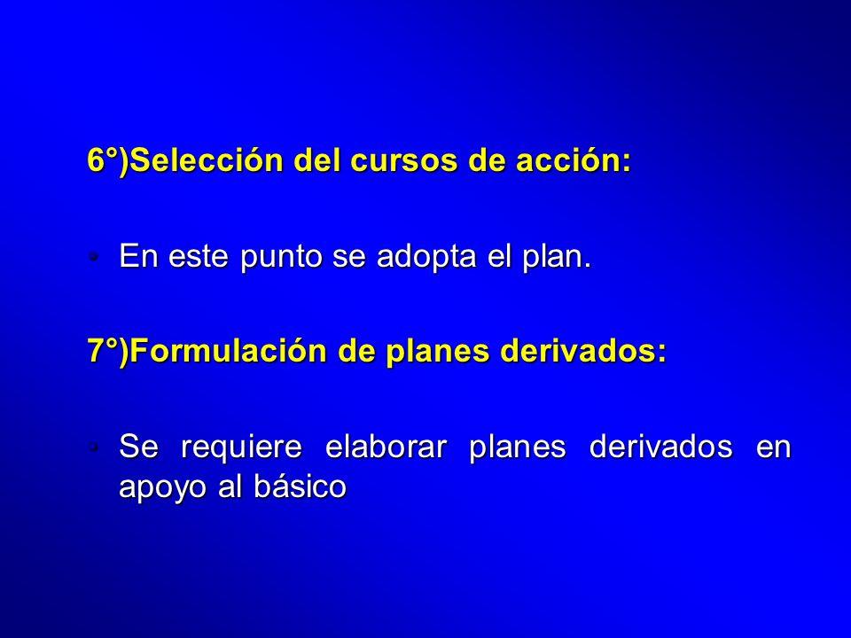 6°)Selección del cursos de acción: