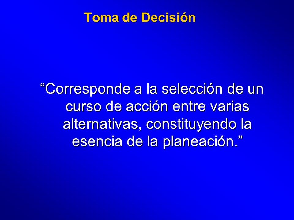 Toma de Decisión Corresponde a la selección de un curso de acción entre varias alternativas, constituyendo la esencia de la planeación.
