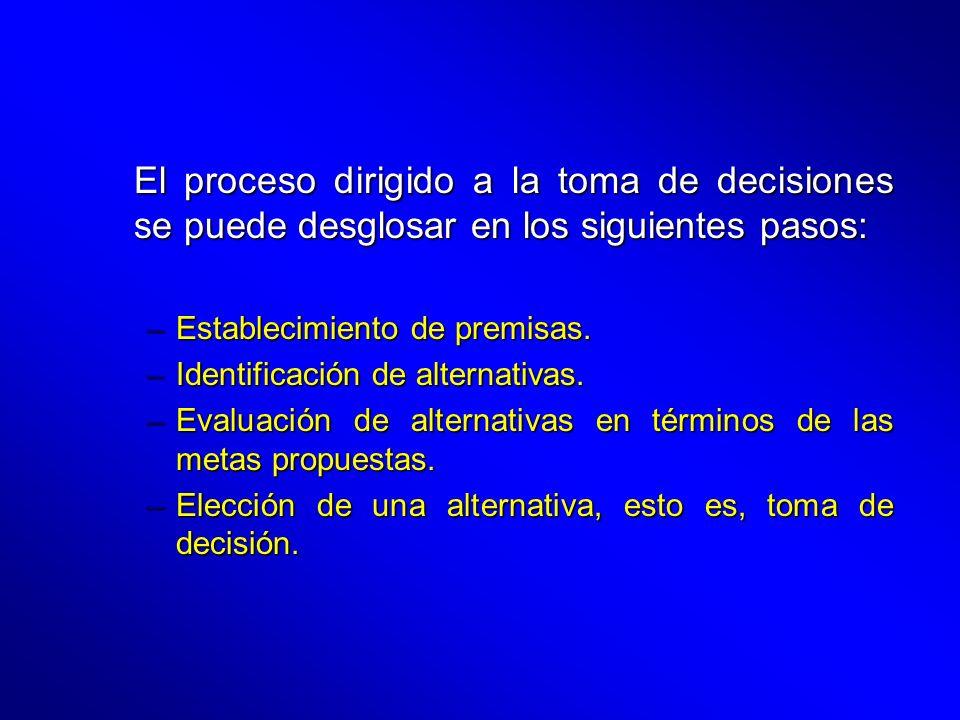 El proceso dirigido a la toma de decisiones se puede desglosar en los siguientes pasos: