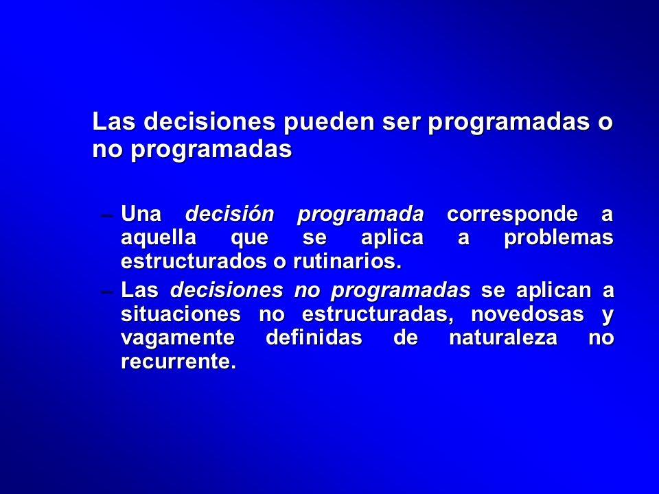 Las decisiones pueden ser programadas o no programadas
