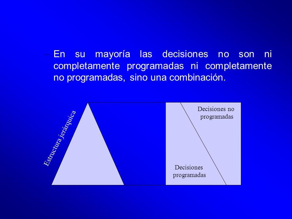 En su mayoría las decisiones no son ni completamente programadas ni completamente no programadas, sino una combinación.