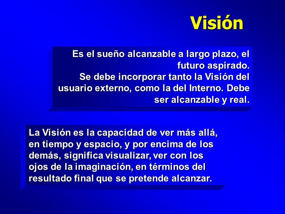Visión Es el sueño alcanzable a largo plazo, el futuro aspirado.