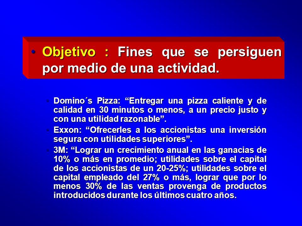 Objetivo : Fines que se persiguen por medio de una actividad.