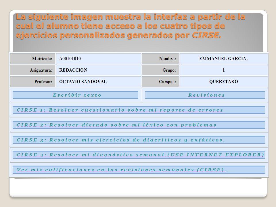 La siguiente imagen muestra la interfaz a partir de la cual el alumno tiene acceso a los cuatro tipos de ejercicios personalizados generados por CIRSE.