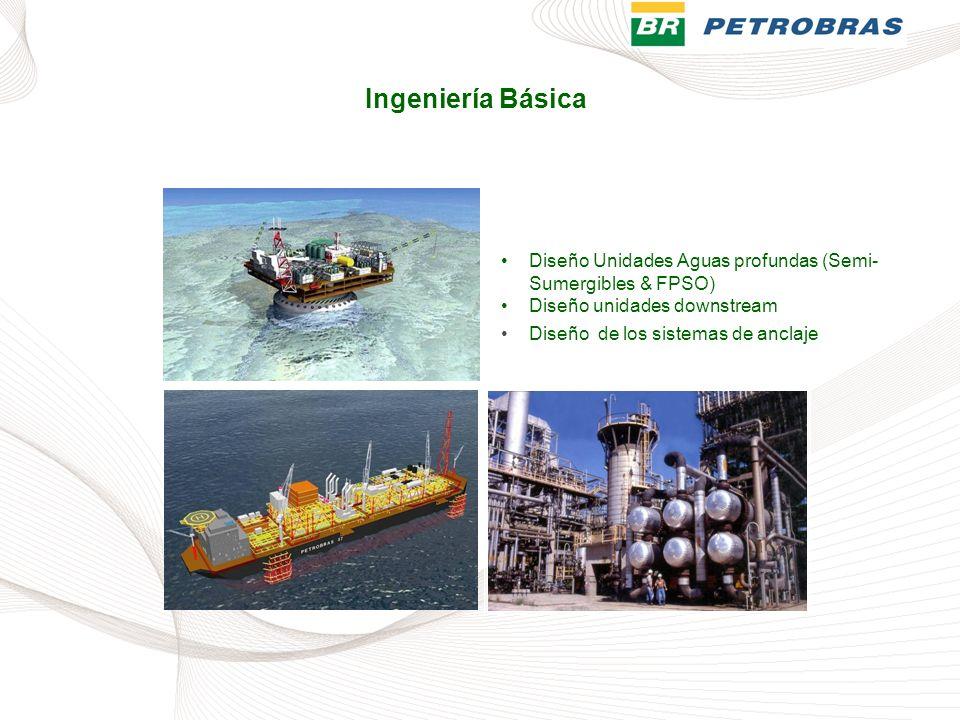 Ingeniería Básica Diseño Unidades Aguas profundas (Semi-Sumergibles & FPSO) Diseño unidades downstream.