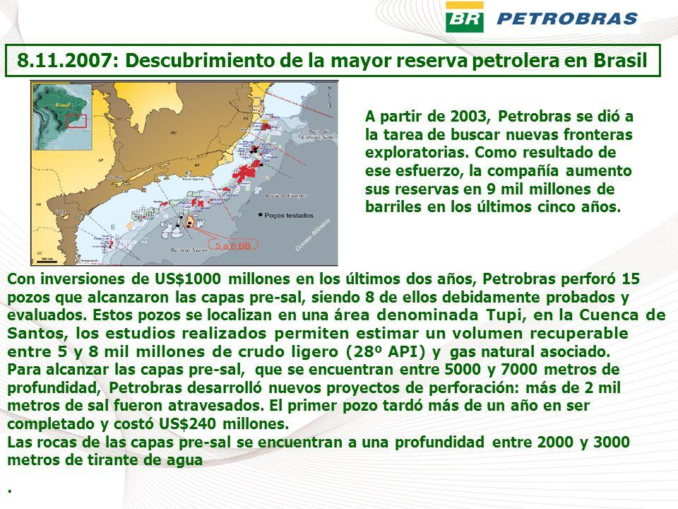 8.11.2007: Descubrimiento de la mayor reserva petrolera en Brasil